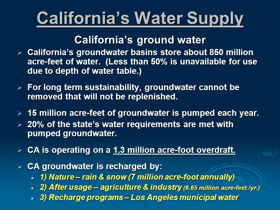 Californias Water Supply Californias ground water Californias groundwater basins store about 850 million acre-feet of water.