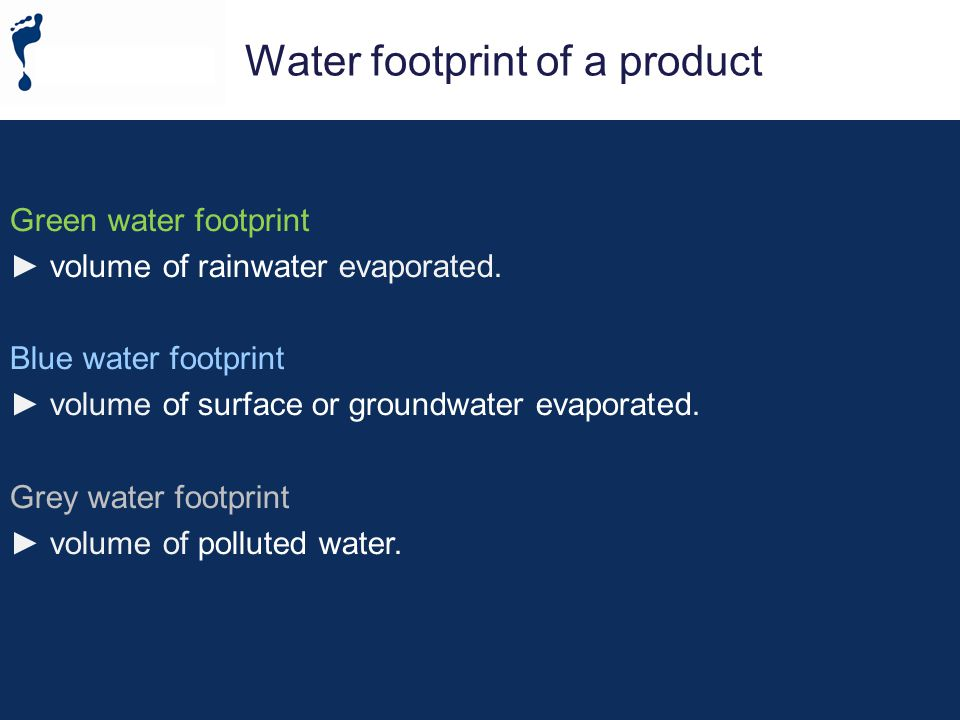 Direct water footprint Indirect water footprint Green water footprint Blue water footprint Grey water footprint Water consumption Water pollution [Hoekstra, 2008] Non-consumptive water use (return flow) Water withdrawal The traditional statistics on water use Components of a water footprint