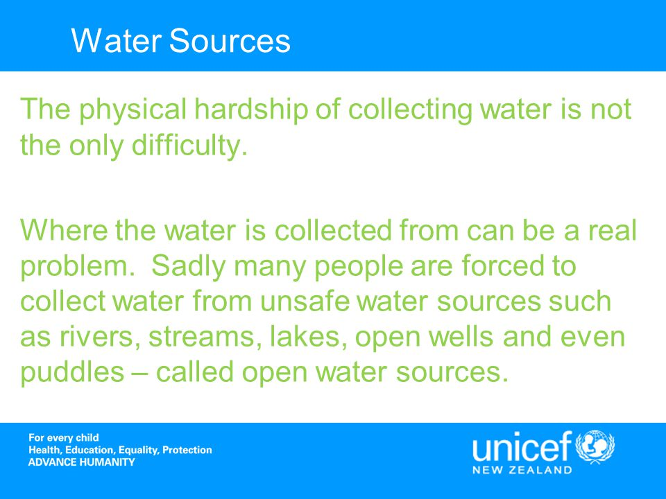 Tanzania Between 2007 and 2011 UNICEF undertook a water project to improve water access for people in Tanzania.