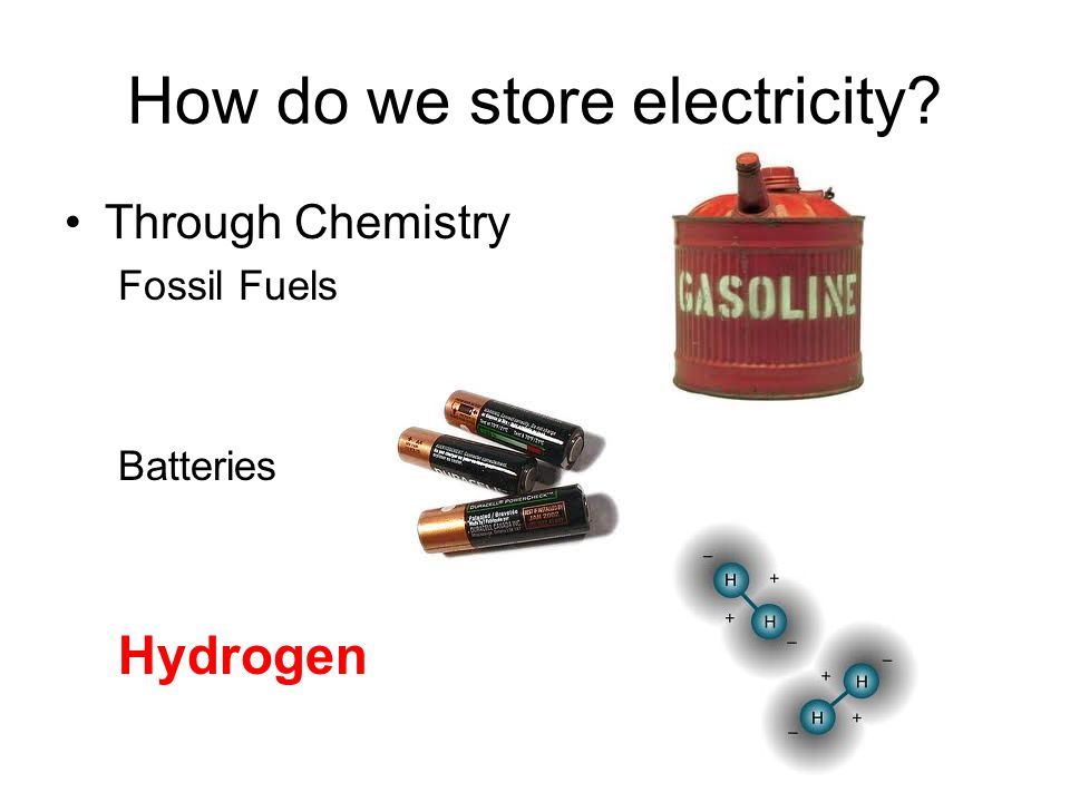 How do we store electricity Through Chemistry Fossil Fuels Batteries Hydrogen