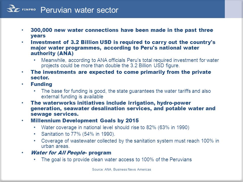 Investments in water sector in Colombia Source: Business news Americas, Colombian water authorities.