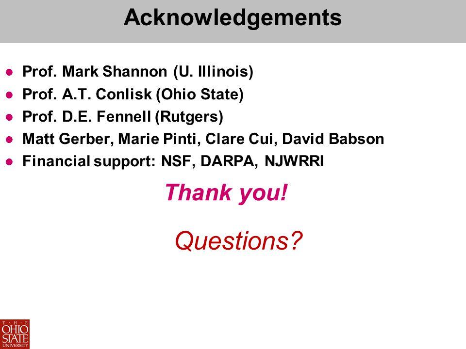 Acknowledgements Prof. Mark Shannon (U. Illinois) Prof.