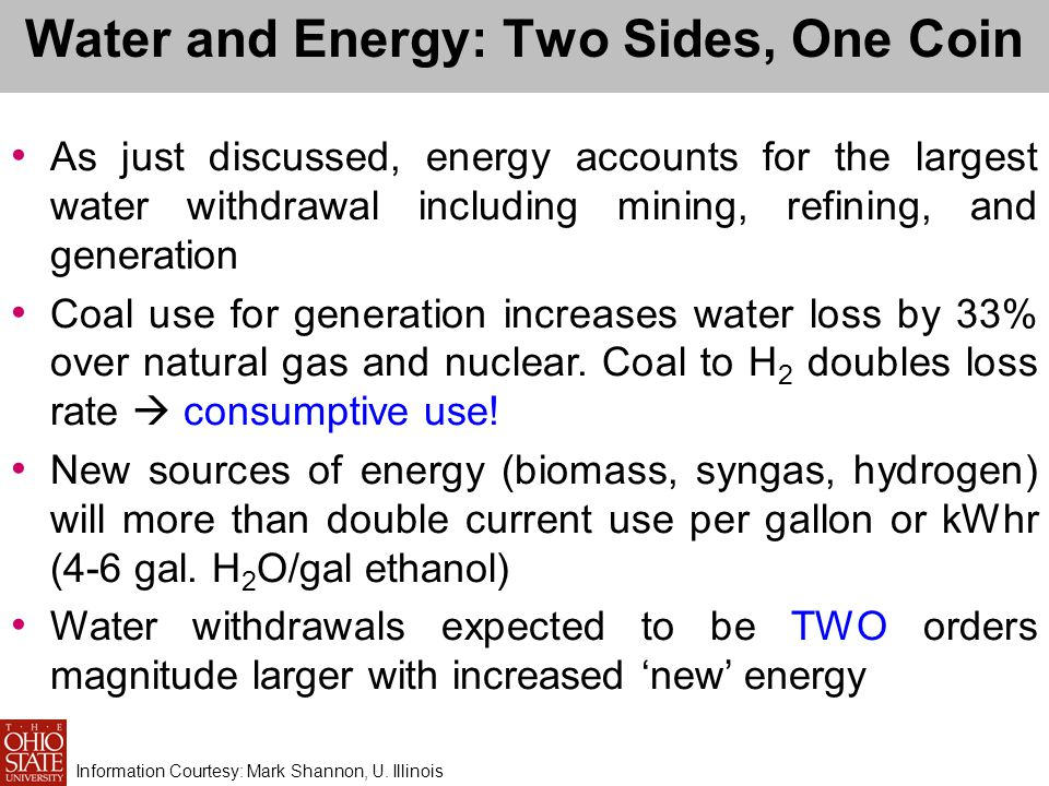 Water and Energy: Two Sides, One Coin As just discussed, energy accounts for the largest water withdrawal including mining, refining, and generation Coal use for generation increases water loss by 33% over natural gas and nuclear.