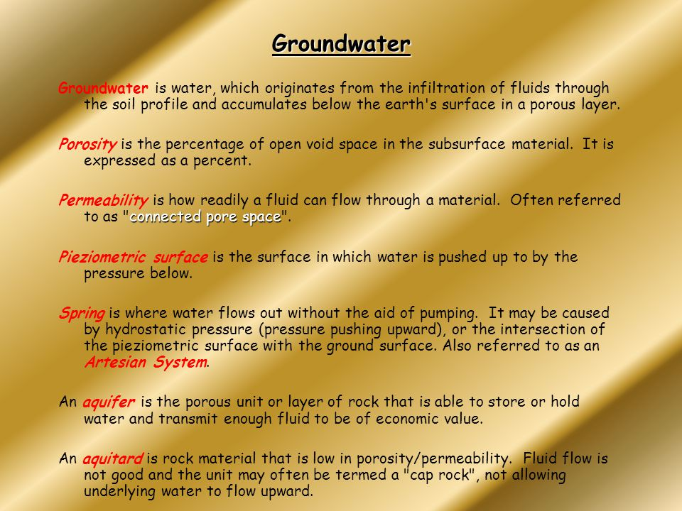 Development of Contamination in Groundwater