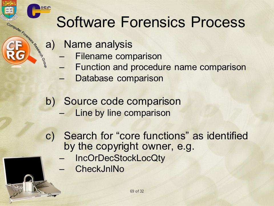 69 of 32 Software Forensics Process a)Name analysis –Filename comparison –Function and procedure name comparison –Database comparison b)Source code comparison –Line by line comparison c)Search for core functions as identified by the copyright owner, e.g.