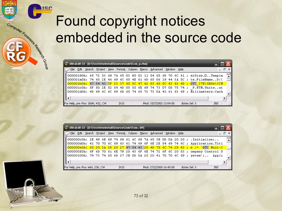 73 of 32 Found copyright notices embedded in the source code