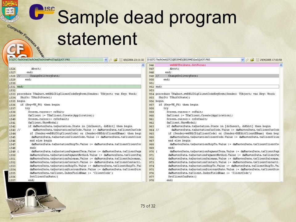 75 of 32 Sample dead program statement
