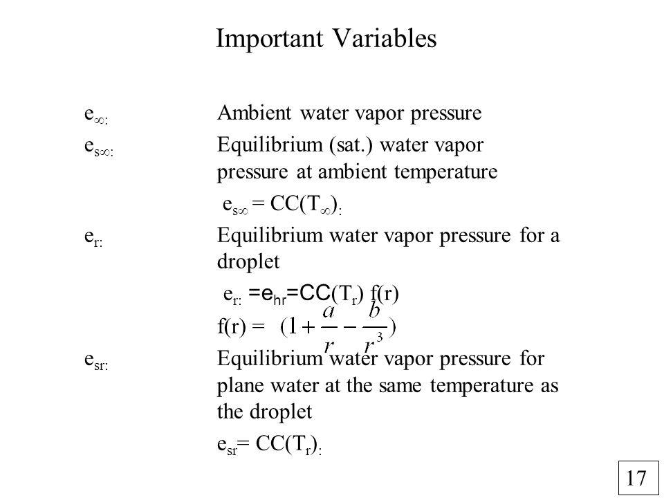 17 Important Variables e Ambient water vapor pressure e s Equilibrium (sat.) water vapor pressure at ambient temperature e s = CC(T ) : e r: Equilibri