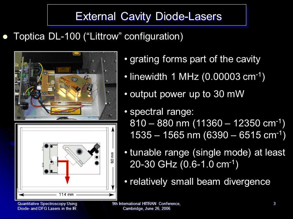 Quantitative Spectroscopy Using Diode- and DFG Lasers in the IR 9th International HITRAN Conference, Cambridge, June 26, 2006 4 H 2 O absorption line around 830 nm External Cavity Diode-Lasers External Cavity Diode-Lasers