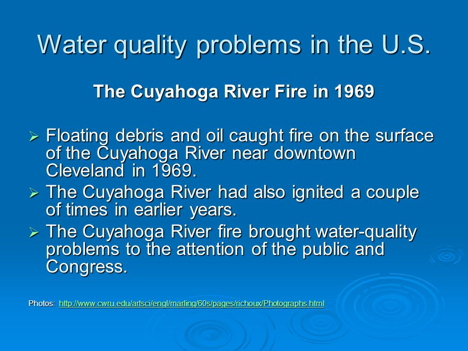 Water quality problems in the U.S.