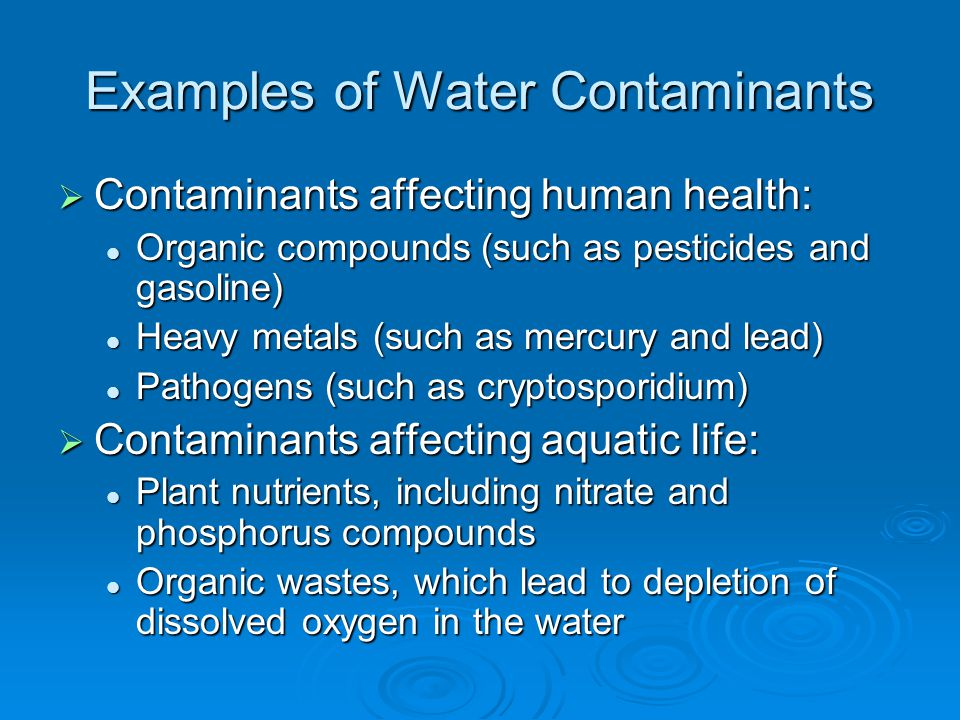 Examples of Water Contaminants Contaminants affecting human health: Contaminants affecting human health: Organic compounds (such as pesticides and gasoline) Organic compounds (such as pesticides and gasoline) Heavy metals (such as mercury and lead) Heavy metals (such as mercury and lead) Pathogens (such as cryptosporidium) Pathogens (such as cryptosporidium) Contaminants affecting aquatic life: Contaminants affecting aquatic life: Plant nutrients, including nitrate and phosphorus compounds Plant nutrients, including nitrate and phosphorus compounds Organic wastes, which lead to depletion of dissolved oxygen in the water Organic wastes, which lead to depletion of dissolved oxygen in the water