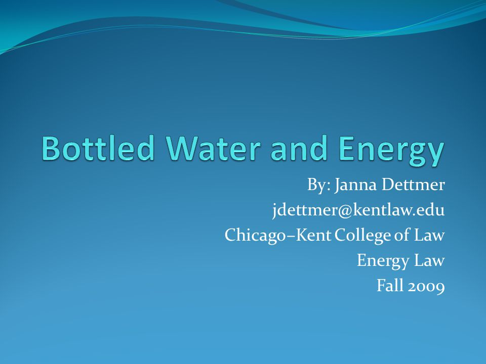 Presentation Summary 1.Boom of the Bottled Water Industry 2.
