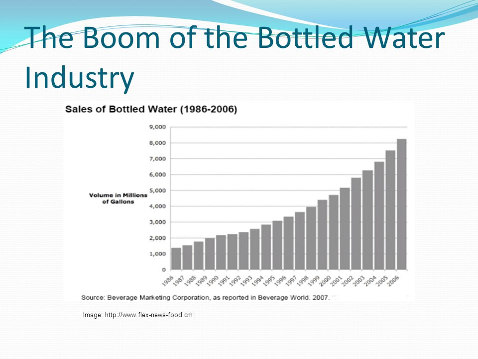 Manufacture of Plastic Bottles: Energy Needed 2007 100 billion liters of bottled water was sold 100 billion liters x 38g = 3.8 million tons of PET 2007 approximately 3 millions tons of PET were produced globally 3 million tons of PET x 100,000 MJ (th) /ton Equals 300 billion MJ (th) of energy Citation: PH Gleick and HS Cooley, Energy implications of bottled water, Environ.