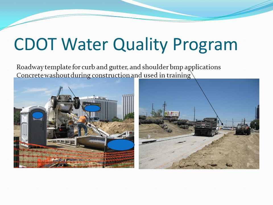 CDOT Water Quality Program Constructed roadway segment combined with curb and gutter and vegetated shoulder