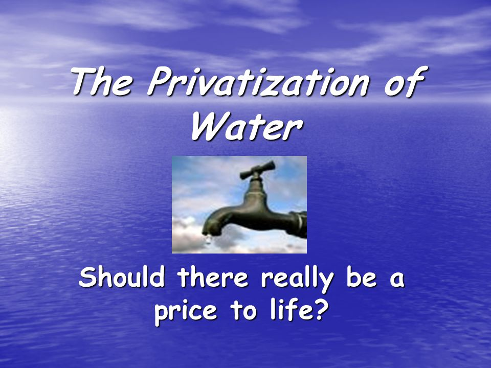 The Privatization of Water Should there really be a price to life