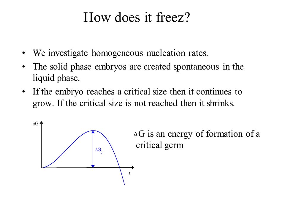 Freezing of water Creation of the critical nucleus leading to freezing.