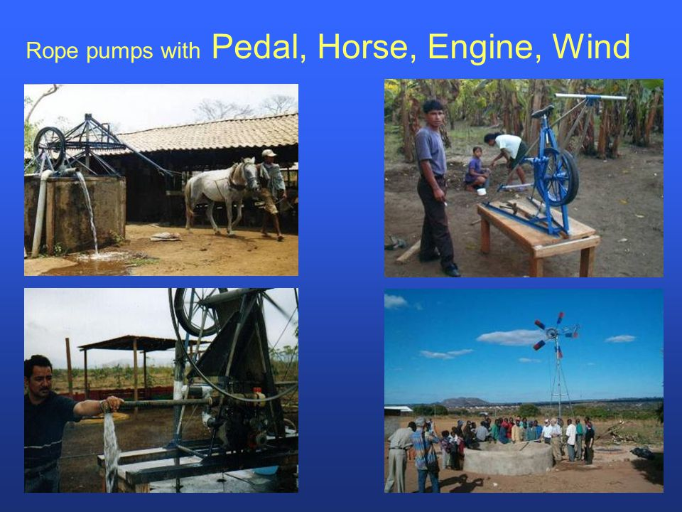 Rope pumps with Pedal, Horse, Engine, Wind