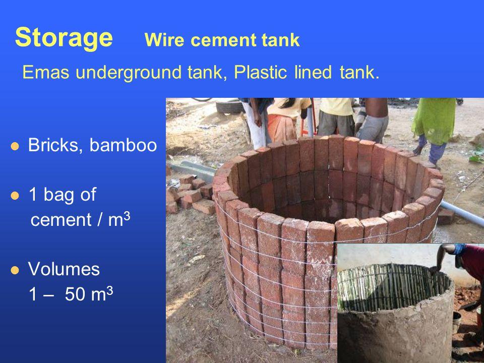 Storage Wire cement tank Emas underground tank, Plastic lined tank.