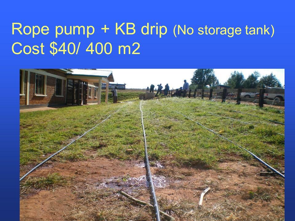 Rope pump + KB drip (No storage tank) Cost $40/ 400 m2