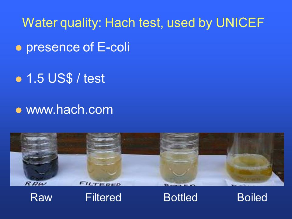 Water quality: Hach test, used by UNICEF presence of E-coli 1.5 US$ / test www.hach.com FilteredBottledBoiledRaw