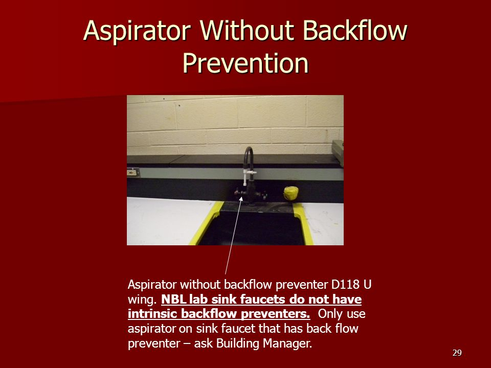 29 Aspirator Without Backflow Prevention Aspirator without backflow preventer D118 U wing.
