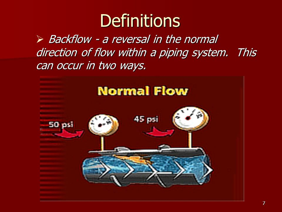 7 Definitions Backflow - a reversal in the normal direction of flow within a piping system.