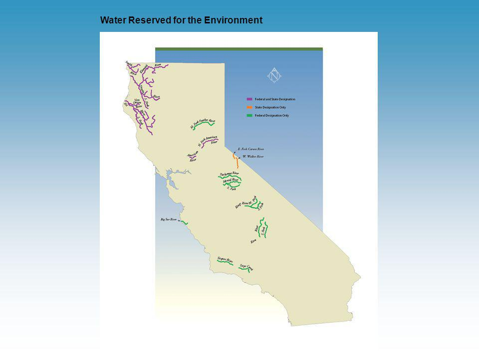 Water Management Framework Major federal agencies – USBR and USACE (provide water supply & flood control), USEPA (regulates water quality) Major state agencies – DWR (provides water supply & flood control), SWRCB (regulates water quality & water rights) Local agencies – provide water supply, flood control, water treatment, wastewater treatment