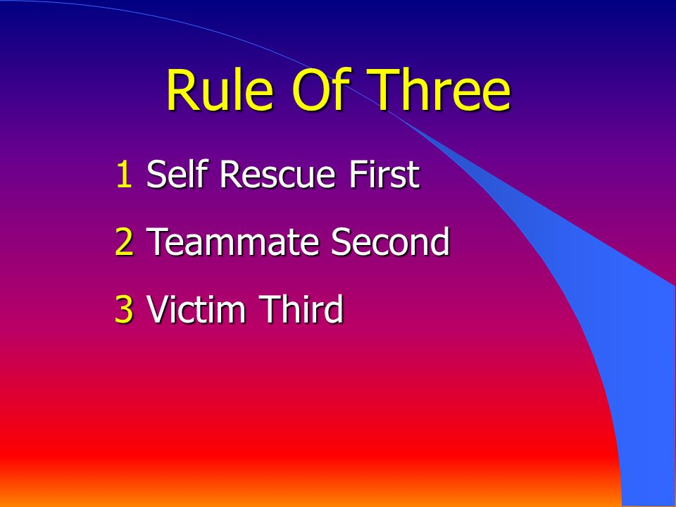 Self Rescue First 1 Self Rescue First 2 Teammate Second 3 Victim Third Rule Of Three