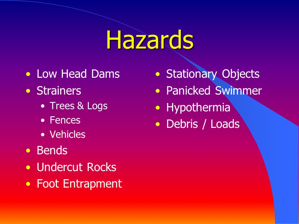 Hazards Low Head Dams Strainers Trees & Logs Fences Vehicles Bends Undercut Rocks Foot Entrapment Stationary Objects Panicked Swimmer Hypothermia Debr