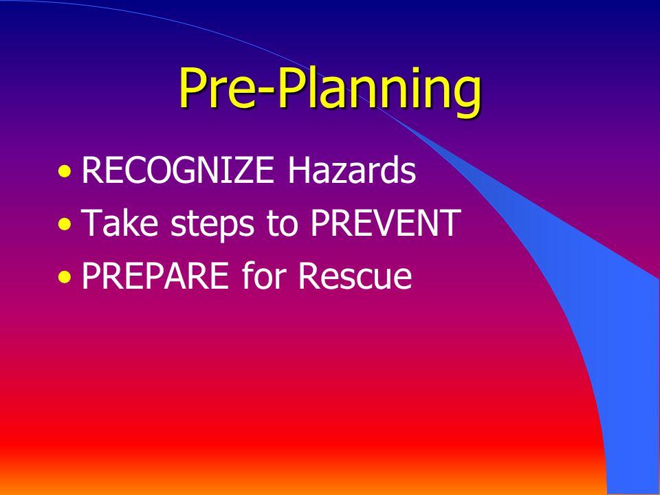 Pre-Planning RECOGNIZE Hazards Take steps to PREVENT PREPARE for Rescue