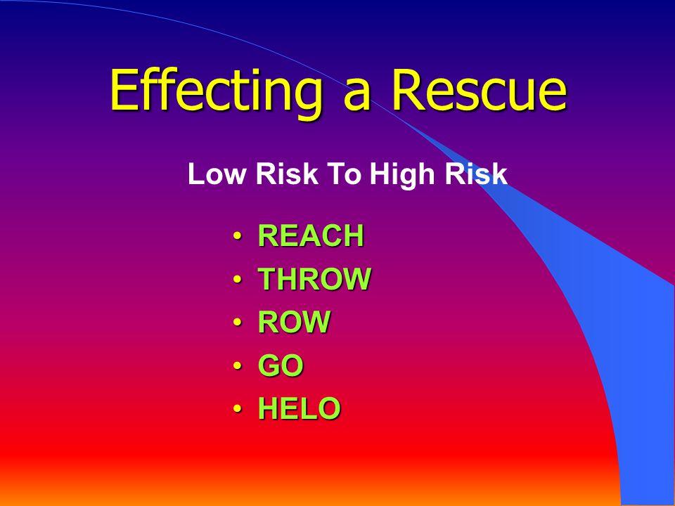 REACHREACH THROWTHROW ROWROW GOGO HELOHELO Low Risk To High Risk Effecting a Rescue
