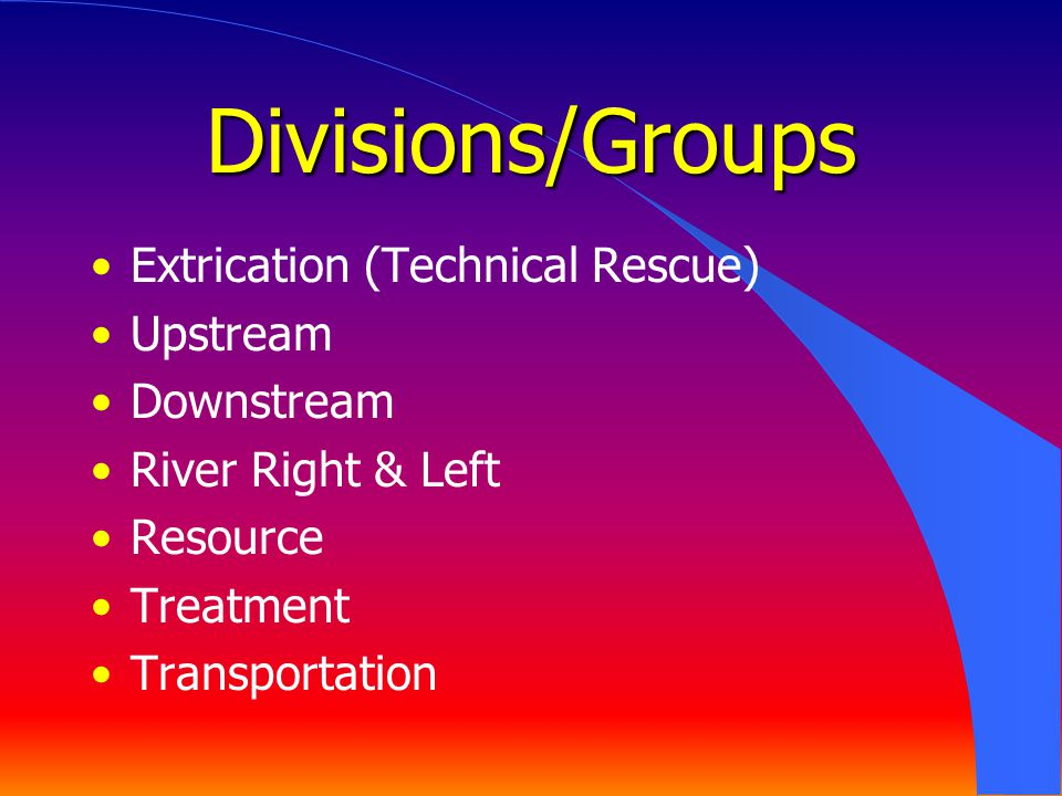 Divisions/Groups Extrication (Technical Rescue) Upstream Downstream River Right & Left Resource Treatment Transportation
