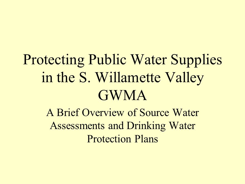 Protecting Public Water Supplies in the S.