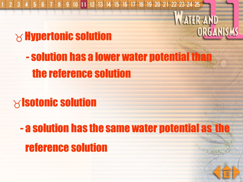 Hypotonic, Hypertonic and Isotonic Solutions Hypotonic solution - a solution has a higher water potential than the reference solution