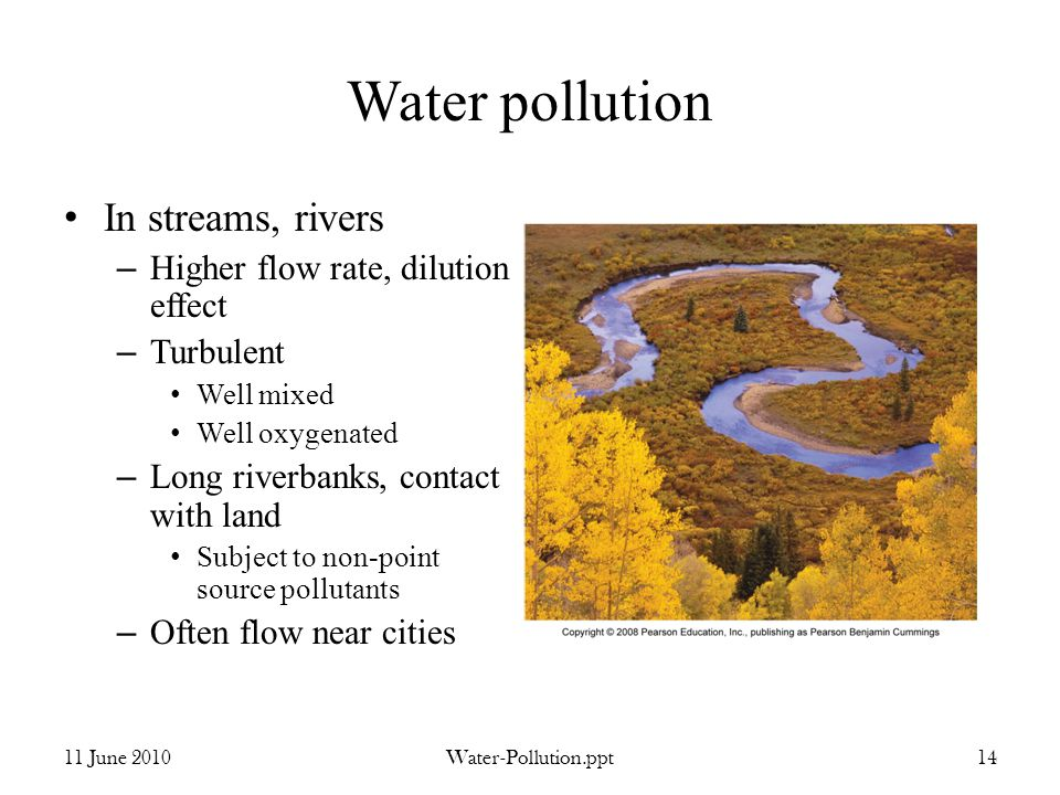 Water pollution In streams, rivers – Higher flow rate, dilution effect – Turbulent Well mixed Well oxygenated – Long riverbanks, contact with land Subject to non-point source pollutants – Often flow near cities 11 June 2010Water-Pollution.ppt14