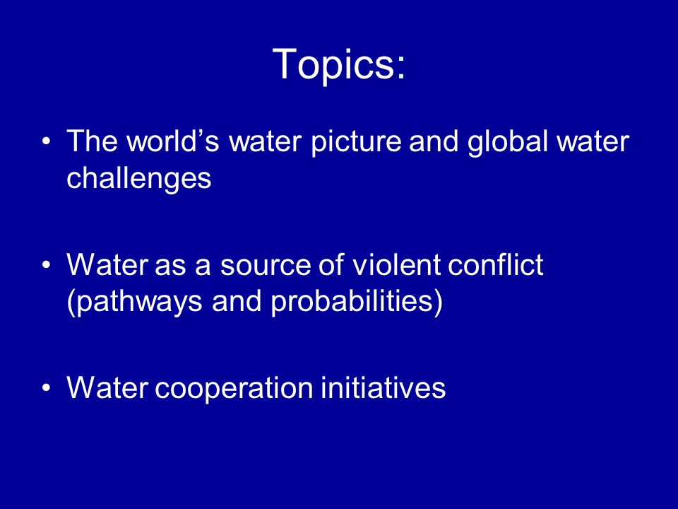Water is… …unsubstitutable in its most important uses; …unevenly distributed; …difficult to capture; …movable, but often only at great social, economic, or ecological cost; …highly variable over time in its availability.