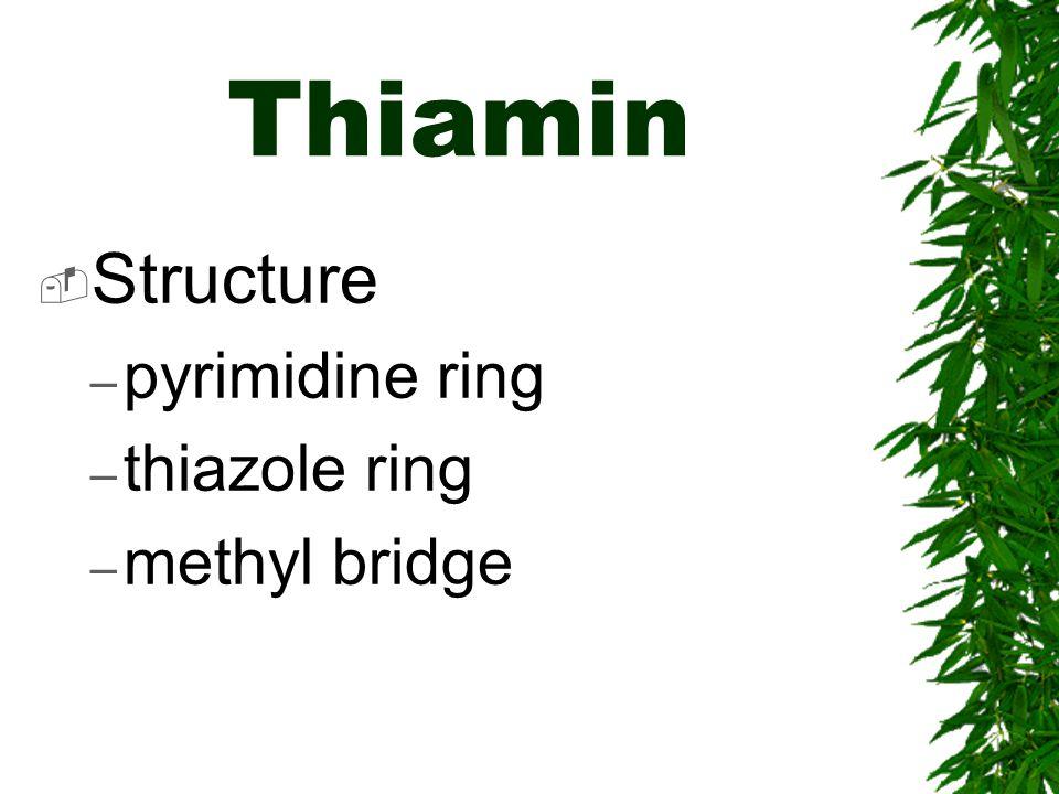 Thiamin Structure – pyrimidine ring – thiazole ring – methyl bridge