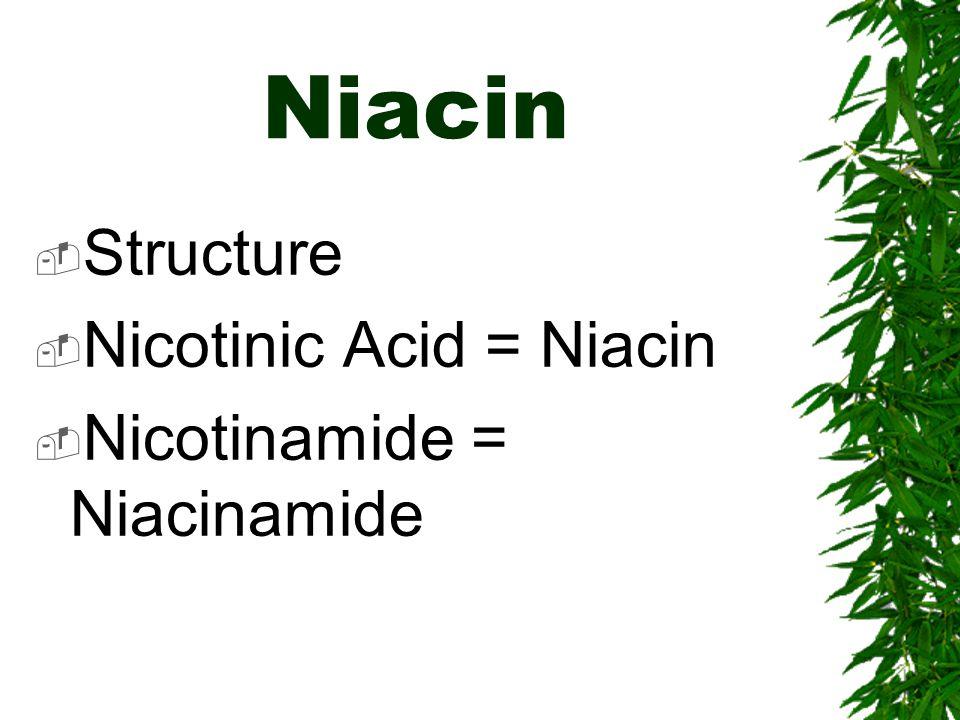 Niacin Structure Nicotinic Acid = Niacin Nicotinamide = Niacinamide