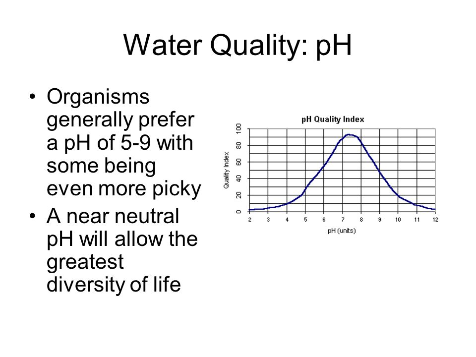 Water Quality: pH Organisms generally prefer a pH of 5-9 with some being even more picky A near neutral pH will allow the greatest diversity of life
