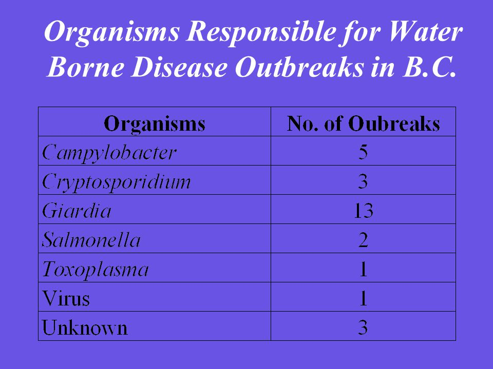 Organisms Responsible for Water Borne Disease Outbreaks in B.C.