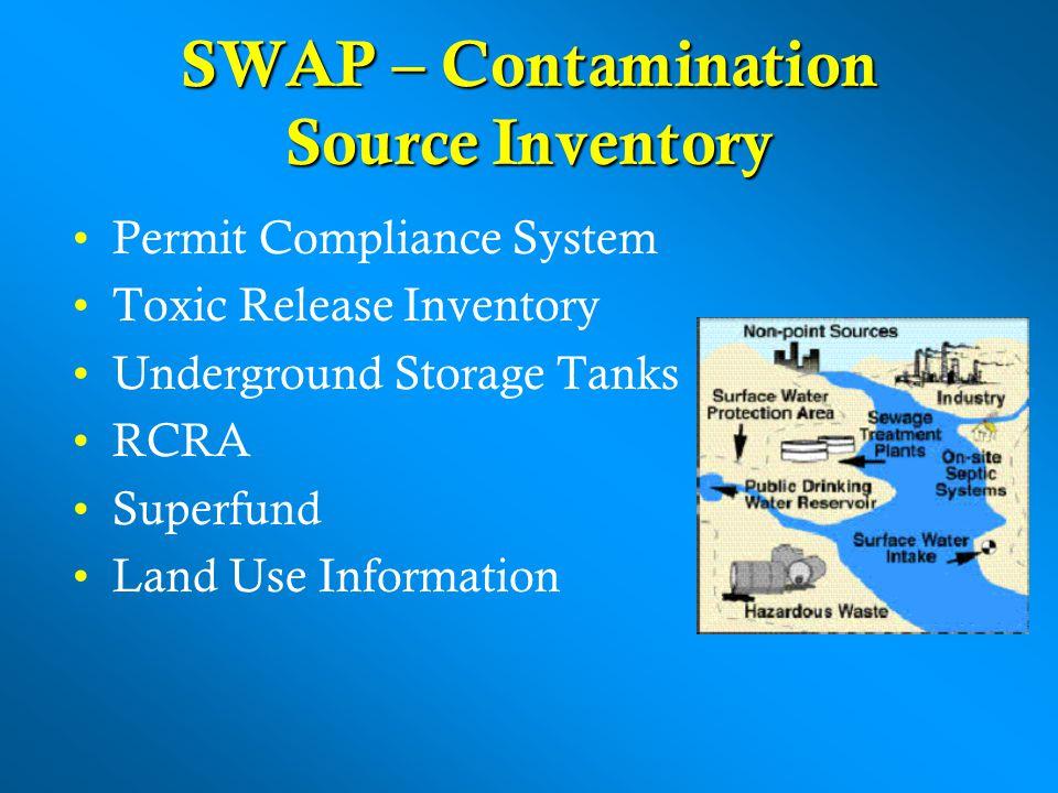 SWAP – Contamination Source Inventory Permit Compliance System Toxic Release Inventory Underground Storage Tanks RCRA Superfund Land Use Information