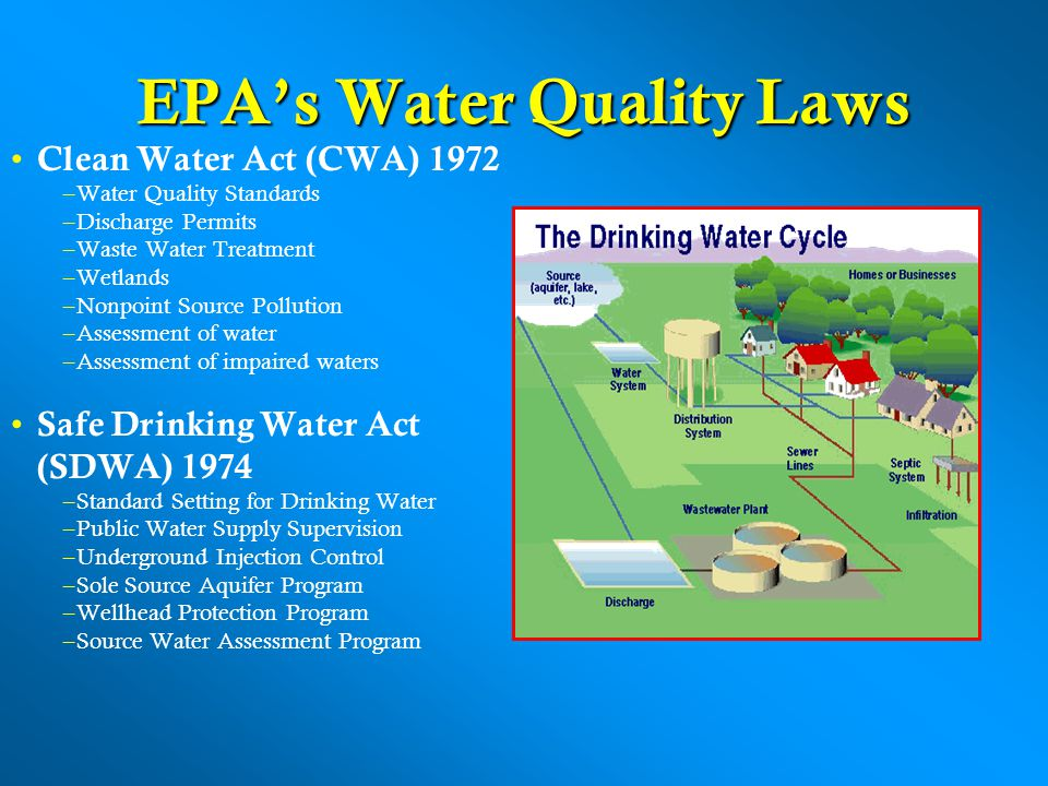 EPAs Water Quality Laws Clean Water Act (CWA) 1972 –Water Quality Standards –Discharge Permits –Waste Water Treatment –Wetlands –Nonpoint Source Pollution –Assessment of water –Assessment of impaired waters Safe Drinking Water Act (SDWA) 1974 –Standard Setting for Drinking Water –Public Water Supply Supervision –Underground Injection Control –Sole Source Aquifer Program –Wellhead Protection Program –Source Water Assessment Program