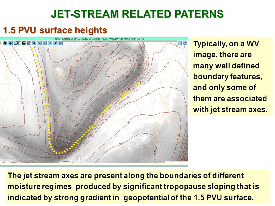 JET-STREAM RELATED PATERNS Typically, on a WV image, there are many well defined boundary features, and only some of them are associated with jet stream axes.