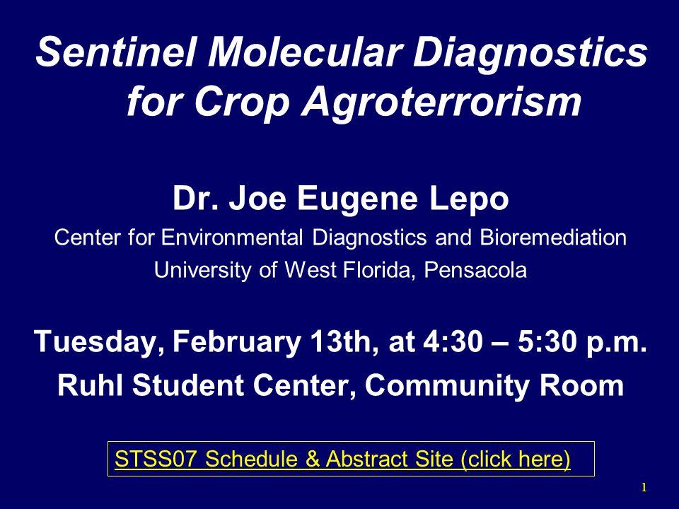 1 Sentinel Molecular Diagnostics for Crop Agroterrorism Dr.
