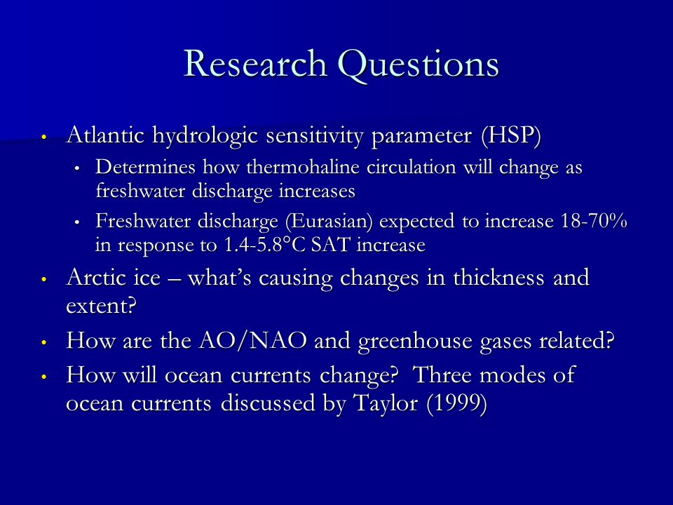 Research Questions Research Questions Atlantic hydrologic sensitivity parameter (HSP) Atlantic hydrologic sensitivity parameter (HSP) Determines how t