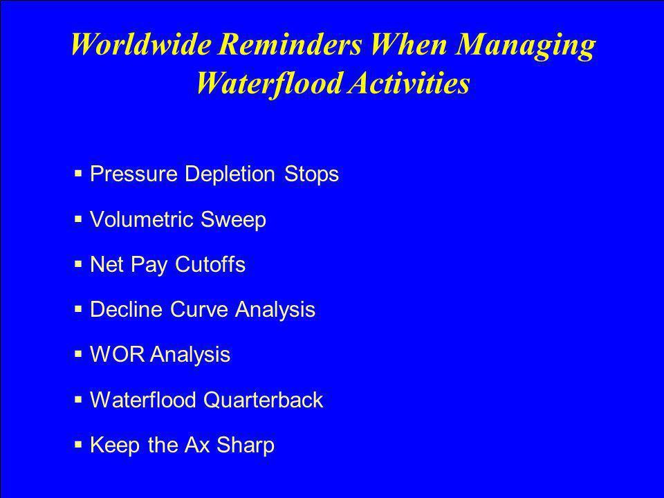 Pressure Depletion Stops Volumetric Sweep Net Pay Cutoffs Decline Curve Analysis WOR Analysis Waterflood Quarterback Keep the Ax Sharp Worldwide Remin