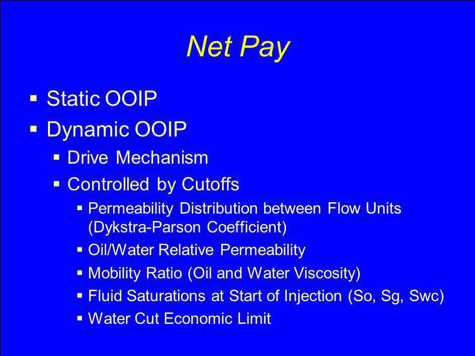 Net Pay Static OOIP Dynamic OOIP Drive Mechanism Controlled by Cutoffs Permeability Distribution between Flow Units (Dykstra-Parson Coefficient) Oil/W