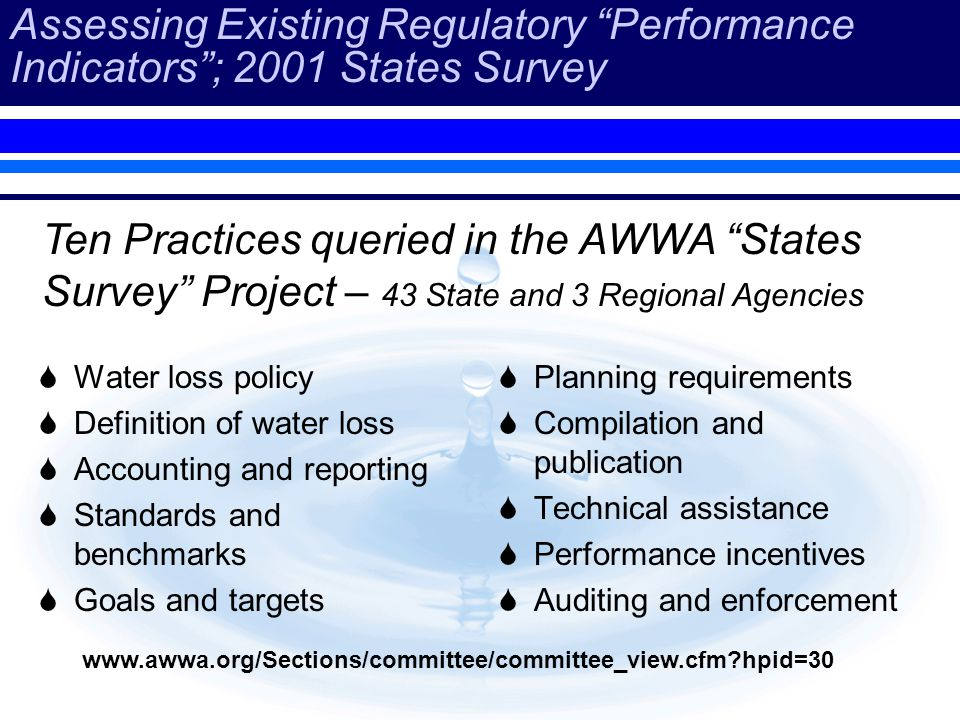 Assessing Existing Regulatory Performance Indicators; 2001 States Survey Water loss policy Definition of water loss Accounting and reporting Standards and benchmarks Goals and targets Planning requirements Compilation and publication Technical assistance Performance incentives Auditing and enforcement Ten Practices queried in the AWWA States Survey Project – 43 State and 3 Regional Agencies www.awwa.org/Sections/committee/committee_view.cfm?hpid=30