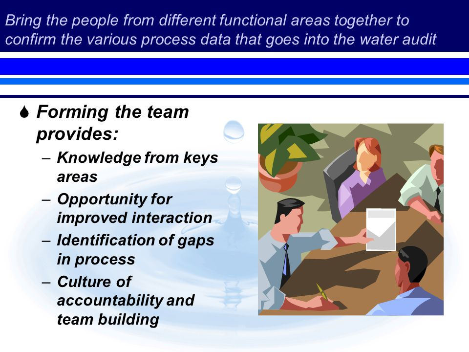 Bring the people from different functional areas together to confirm the various process data that goes into the water audit Forming the team provides: –Knowledge from keys areas –Opportunity for improved interaction –Identification of gaps in process –Culture of accountability and team building