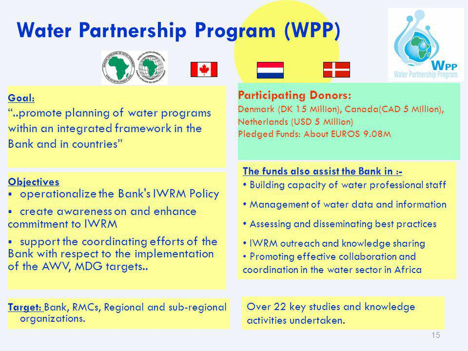 15 The funds also assist the Bank in :- Building capacity of water professional staff Management of water data and information Assessing and dissemina